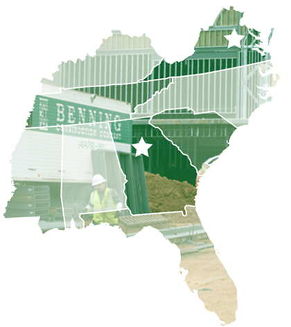 Benning-Construction-Company-Project-Coverage-Map-of-Southeastern-USA